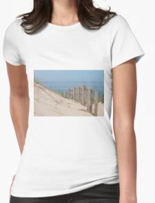 Sand dunes and weathered fence at the beach Womens Fitted T-Shirt