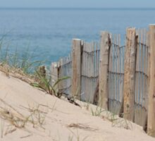 Sand dunes and weathered fence at the beach Sticker