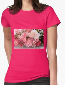 Silk rose flower bouquet on white background  Womens Fitted T-Shirt