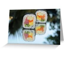 Tuna and Salmon Sushi Futo Maki Greeting Card