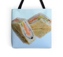 Sushi sandwich on reflective background  Tote Bag