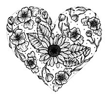 Floral Love Heart Photographic Print
