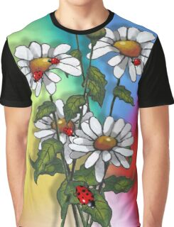 Daisies with Ladybugs, Ladybirds on Multi-Colored Background Graphic T-Shirt
