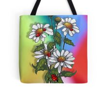 Daisies with Ladybugs, Ladybirds on Multi-Colored Background Tote Bag