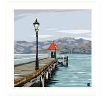Akaroa Wharf, New Zealand by Ira Mitchell-Kirk Art Print