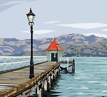 Akaroa Wharf, New Zealand by Ira Mitchell-Kirk by Ira Mitchell-Kirk