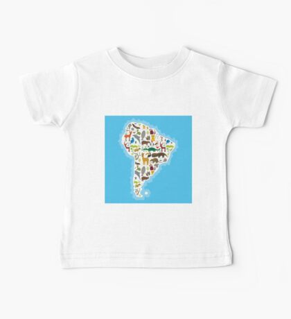 South America Animal Map Baby Tee