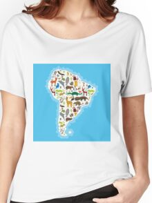 South America Animal Map Women's Relaxed Fit T-Shirt