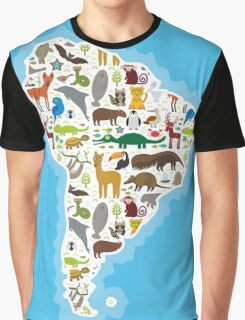 South America Animal Map Graphic T-Shirt
