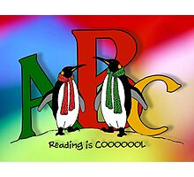 Penguins and Alphabet Letters: Reading is Cool, Colorful Art Photographic Print