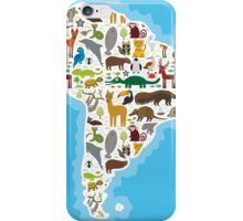 South America Animal Map iPhone Case/Skin