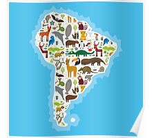 South America Animal Map Poster