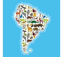 South America Animal Map Photographic Print