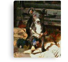 A Puppy Can Never Have Too Many Toys Canvas Print