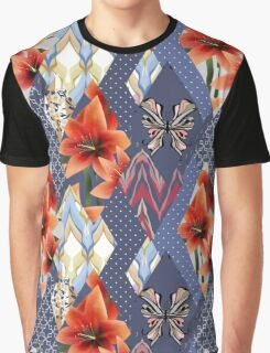 Patchwork seamless floral orange lilly pattern texture with decorative elements Graphic T-Shirt