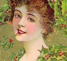 Vintage Christmas Greeting Card Sticker