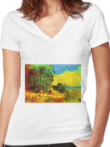 COUNTRY COTTAGES 71D Women's Fitted V-Neck T-Shirt