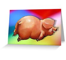 Cute Chubby Piggy on Belly, Multi-Color Background Greeting Card