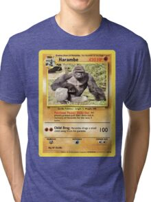 Harambe Pokemon Card Tri-blend T-Shirt