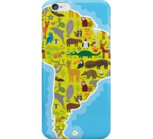 South America Animal Map Green iPhone Case/Skin
