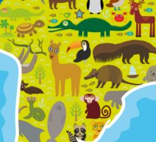 South America Animal Map Green Sticker