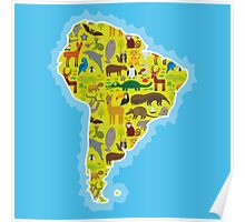 South America Animal Map Green Poster