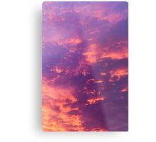 Dramatic red cloudscape at sunset.  Metal Print