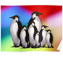 Penguin Family in Snow on Multi-Colored Background Poster