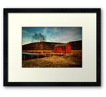 Red Barn At Twilight Framed Print