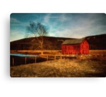 Red Barn At Twilight Canvas Print