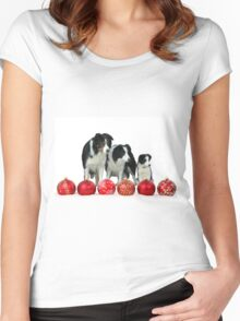 Border Collie Dogs with Red Christmas Ornaments Classic Round  Women's Fitted Scoop T-Shirt