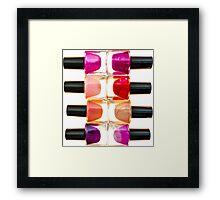 Bottles of Nail Polish of Various Colors and Shades Framed Print