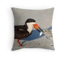 Black Skimmer 2:Mom and chick both have fish!  Throw Pillow