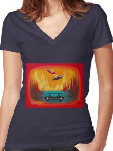 Night Visit Women's Fitted V-Neck T-Shirt