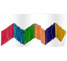 Geometric Composition with Colorful Popsicle Sticks  Poster