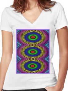 """""""PSYCHEDELIC MOTION"""" 3D Abstract Poster Print Women's Fitted V-Neck T-Shirt"""