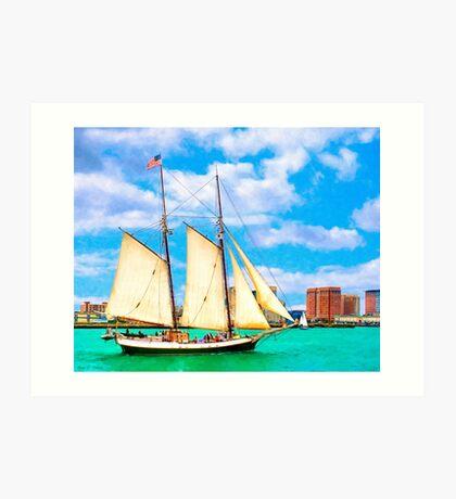 Sailing In A Classic Schooner In Boston Harbor Art Print
