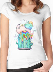 Rainbow Snail on a cactus Women's Fitted Scoop T-Shirt