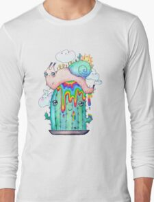 Rainbow Snail on a cactus Long Sleeve T-Shirt
