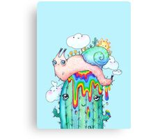 Rainbow Snail on a cactus Canvas Print