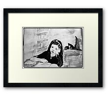 Witch Pupil Tires of Lessons- Ink Drawing Framed Print