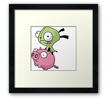 Gir Riding Pig  Framed Print