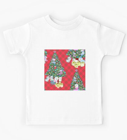 Watercolour Christmas Tree with Watercolour Kittens and Puppies on red tartan / vintage style  Kids Tee