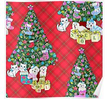 Watercolour Christmas Tree with Watercolour Kittens and Puppies on red tartan / vintage style  Poster