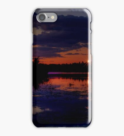 Lights Over Willow Lake At Sunset iPhone Case/Skin