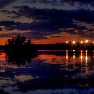 Lights Over Willow Lake At Sunset by K D Graves Photography