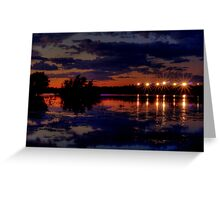 Lights Over Willow Lake At Sunset Greeting Card