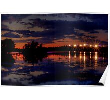 Lights Over Willow Lake At Sunset Poster