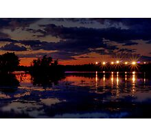 Lights Over Willow Lake At Sunset Photographic Print