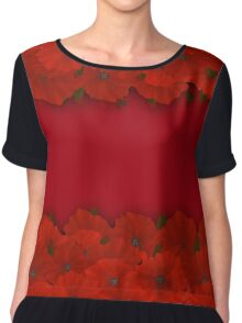 Flower frame. Floral border. Bouquet of red poppy on red background Chiffon Top